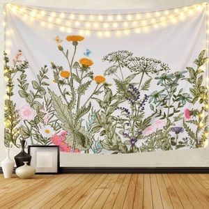 Colorful Floral Plants Flower Wall Hang Tapestry